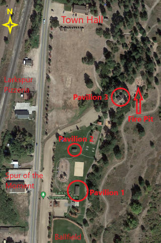 A top down map of Larkspur's park, with the 3 Pavilions circled and nearby businesses and landmarks labeled